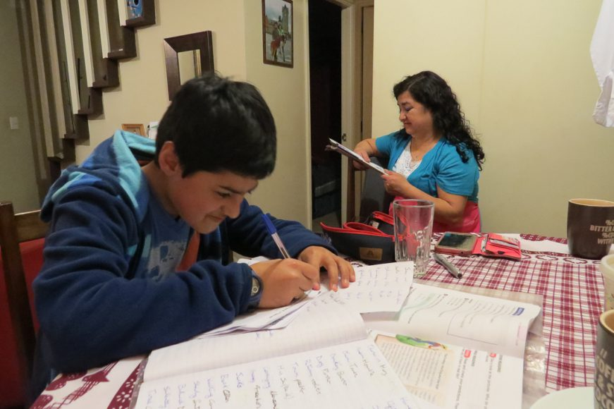 Ella es mi vecina Alicia. Ese día me llamó para que le enseñará inglés a su hijo Franco quien tenía una prueba el día siguiente.